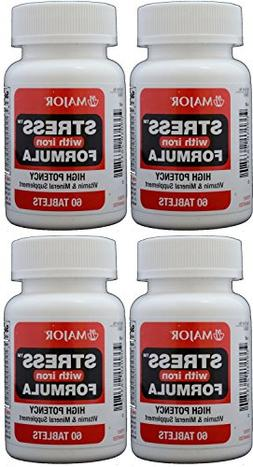 Stress Tab with Iron High Potency Stress Formula with B-Vita
