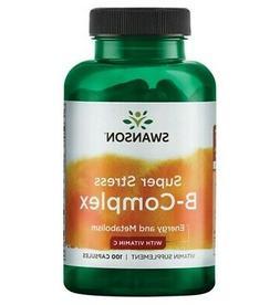 Swanson Super Stress B-Complex with Vitamin C 100 Capsules