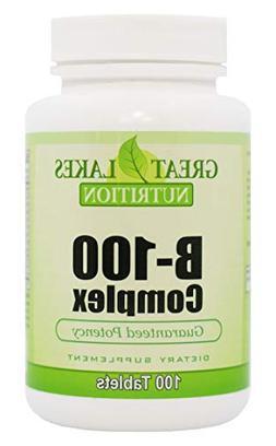 Vitamin B-100 Complex | Complete Formula B1, B2, B6, B12, Fo