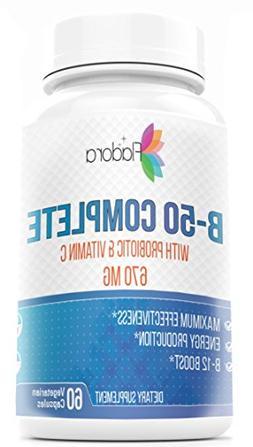 Vitamin B-50 Complex with Probiotic & Vitamin C - 670mg - 60