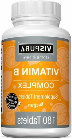 Vitamin B-Complex 180 Vegan Tablets Natural Supplement Witho