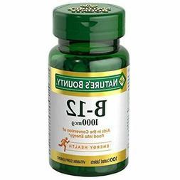 Nature's Bounty Natural Vitamin B12, 1000mcg, 100 Tablets