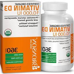 Bronson Vitamin D3 10,000 IU Certified Organic Vitamin D Sup