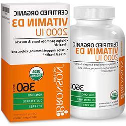 Bronson Vitamin D3 2000 IU Certified Organic Vitamin D Non-G
