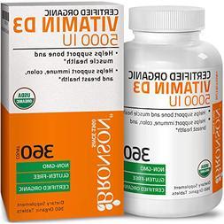 Bronson Vitamin D3 5000 IU Certified Organic Vitamin D, Non-